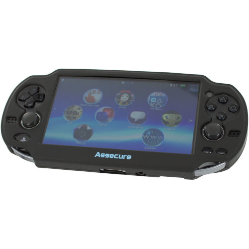 Assecure soft silicone skin protector cover bumper grip case for Sony PS Vita 1000 – black