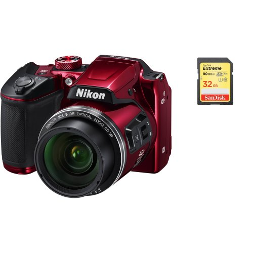 NIKON B500 Body Red + SanDisk Extreme 32G SD card