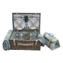 4 Person Cream Tartan Fitted Picnic Basket