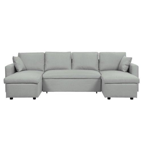 Fabric Corner Sofa Bed with Storage Light Grey SOMMEN