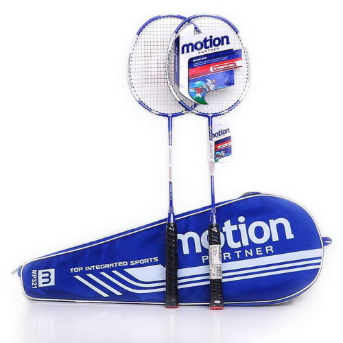 Restrung Badminton Rackets Navy Rackets with Bag G3 Grip