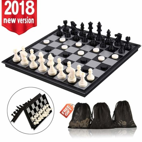 Magnetic Travel Chess Set, Folding Chess Board Game Sets (12.5inches*12.5inches ) with Chess Backgammon Checkers, 3 in 1 Portable Traditional Chess...