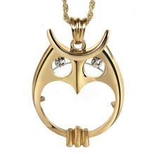 Fashion Magnifying Glass Necklace Owl-shaped Necklace Magnifier