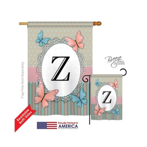 Breeze Decor 30156 Butterflies Z Monogram 2-Sided Vertical Impression House Flag - 28 x 40 in.