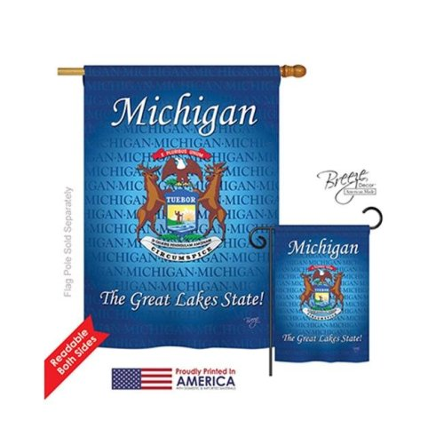 Breeze Decor 08105 States Michigan 2-Sided Vertical Impression House Flag - 28 x 40 in.