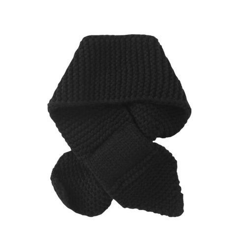 Warm Knitted Boys Scarf Neck Warmer Soft Comfortable Scarf-Black