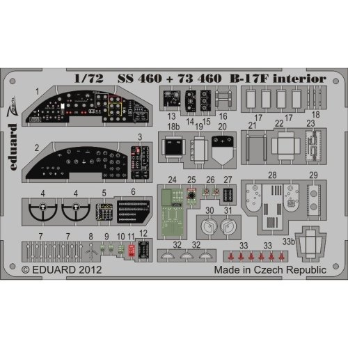 Edpss460 - Eduard Photoetch (zoom) 1:72 - B-17f Interior S.a. (revell)