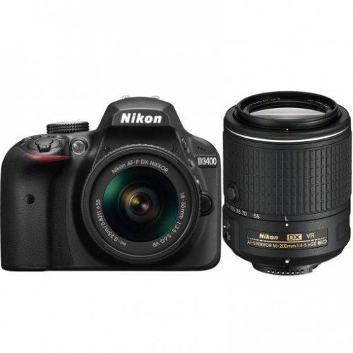 NIKON D3400 AF-P 18-55mm F3.5-5.6G VR + AF-S 55-200mm F4-5.6G ED VR II