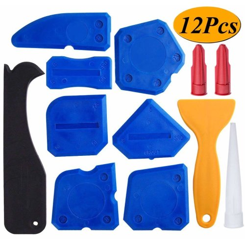 12 Pieces Sealant Tools Caulking Tool Kit Silicone Sealant Finishing Tool Grout Scraper Caulk Remover and Caulk Nozzle and Caulk Caps (Blue)
