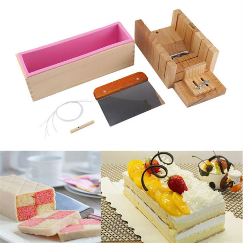 Silicone Soap Mold Wooden Box Loaf Cake Maker Cutting Slicer Cutter Making Tool