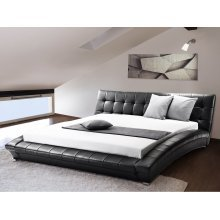Leather Water Bed - Super King Size - Full Set - 6 ft /180 x 200 cm - LILLE black