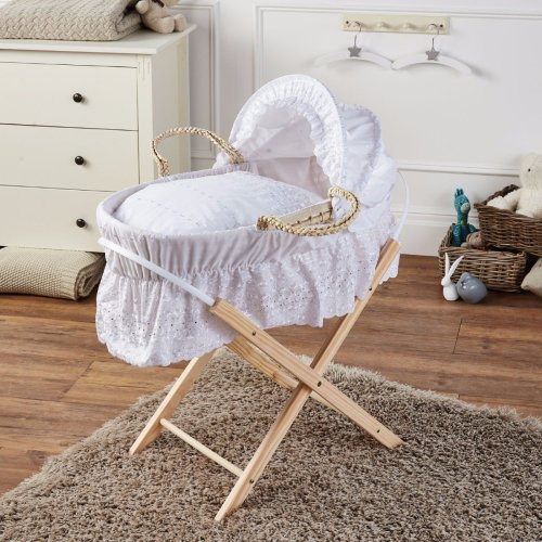 Brand New-Broderie Anglaise Moses Basket With Mattress Covers & Folding Stand Wh