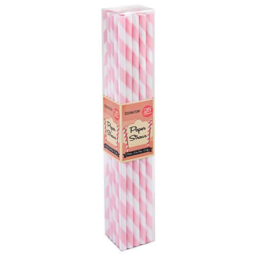 Eddingtons Paper Straws Pink 25 Pack