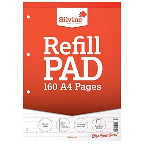 6pk 160 Page A4 Refill Ruled Pad - Silvine Feint Margin Punched Headbound -  silvine ruled refill pad feint margin punched a4 headbound perforated