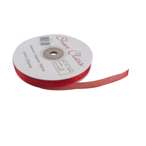 Red Organza Ribbon. 10mm x 45meters. Chiffon Ribbon