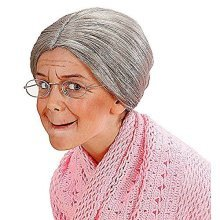 Child Grandma Grey Bun Wig For Fancy Dress Costumes & Outfits Accessory