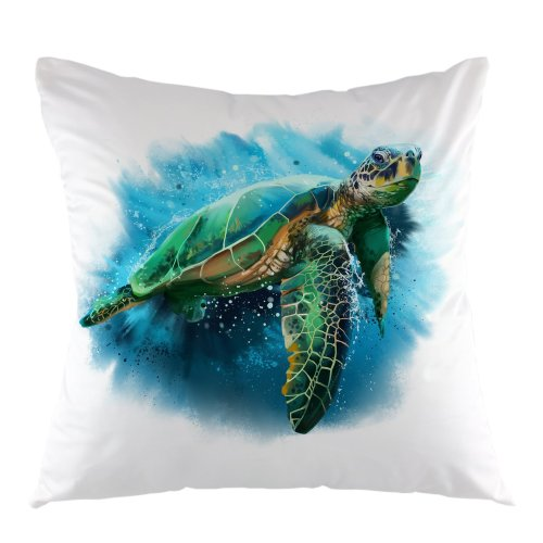 """Melyaxu Turtle Decorative Throw Pillow Cover Sea Turtle Pillow Case Square Cushion Cover 18""""X18"""" Green Blue"""