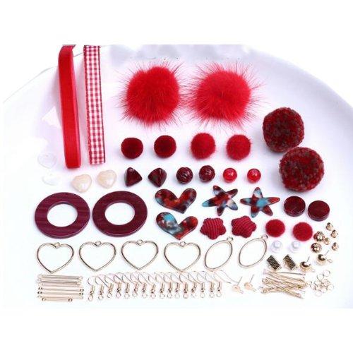 Red Earring Making Materials Kit for Design Earrings