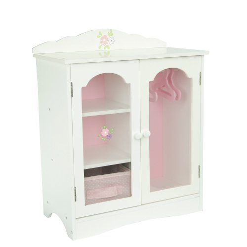 Olivia's Little World - Princess Fancy Wooden Closet with 3 Hangers and 1 Cubby (White / Pink) | Wooden 18 inch Doll Furniture