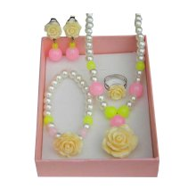 4 PCS Necklace/Bracelet/Ear Clips/Ring Set for Kids