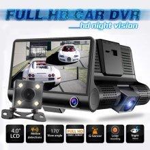 Dash Cam 3 Lens 4 ''  HD 1080P Car DVR Dash Cam Video  Rearview Camera