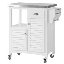 SoBuy® FKW37-W, Kitchen Storage Trolley with Stainless Steel Worktop