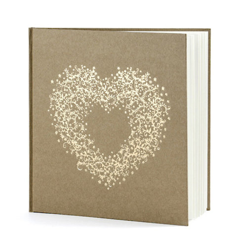 Brown Kraft Wedding Guest Book With Gold Heart