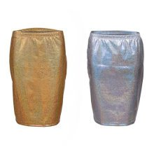 Shiny Metallic Pencil Skirt