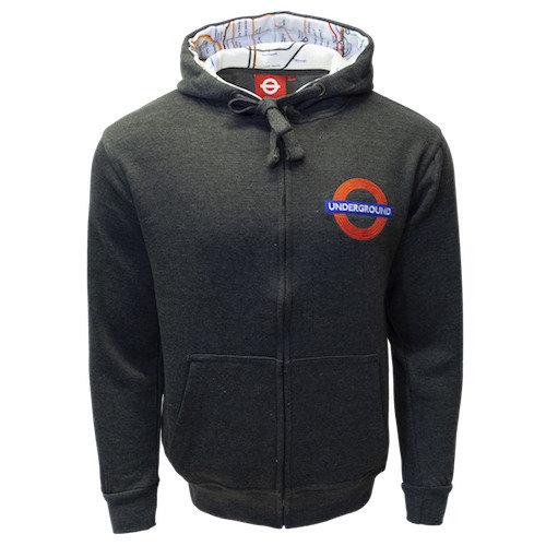 TFL129Z Licensed Unisex Underground Roundel Zipped Hooded Sweatshirt Charcoal