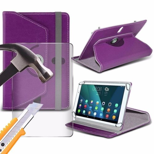 Itronixs - Asus Memo Pad Smart 10 (10.1 Inch) Tablet Case Premium Pu 360 Rotating Leather Wallet with Tempered Glass Lcd Screen Protector Guard