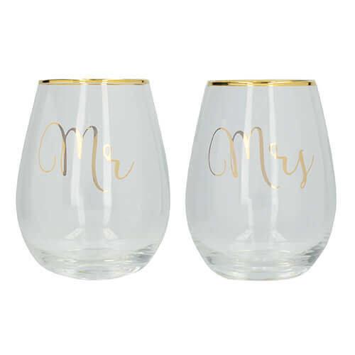 Ava & I Mr And Mrs Set Of 2 Glasses