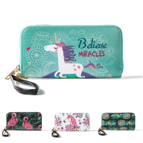 Multifunctional Unicorn Women Wallet Leather Purse Card Holder Zipper Phone Bag for iPhone Samsung
