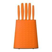 5Pc Knife Set With Storage Block, Orange