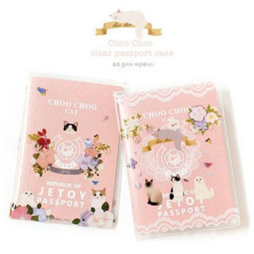 Pink Kitten Cats With Flowers Passport Cover