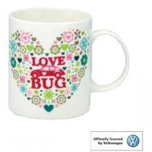 VW Beetle Love Bug Bone China Mug Cup Souvenir Gift Official Volkswagen Heart