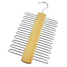 20 Chrome Bars Suit Tie and Belt Wood Hanger Hanging Rack Holder Storage For Men
