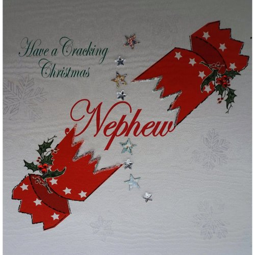 Handmade Christmas Card Images.White Cotton Cards X142 Have A Cracking Christmas Nephew Handmade Christmas Card With Cracker Design White
