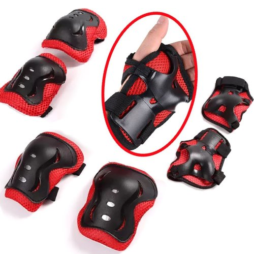 Protective Gear,children Knee Elbow Pads and Wrist Guard Kid's Pad Set for Inline Roller Skating Biking Skateboard Scooter Black&Red