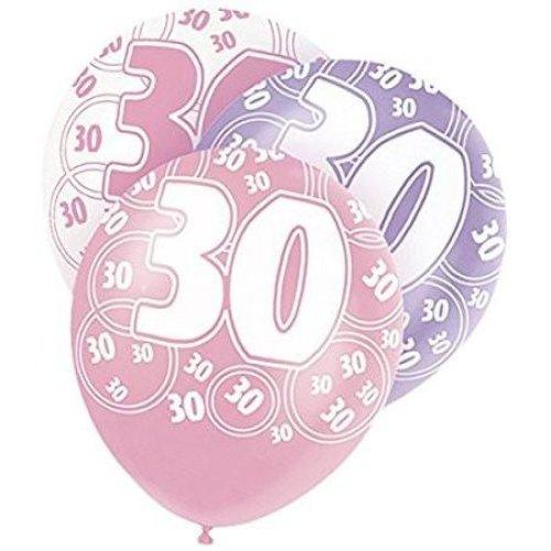 Age 30 Birthday Balloons Pink Glitz On OnBuy