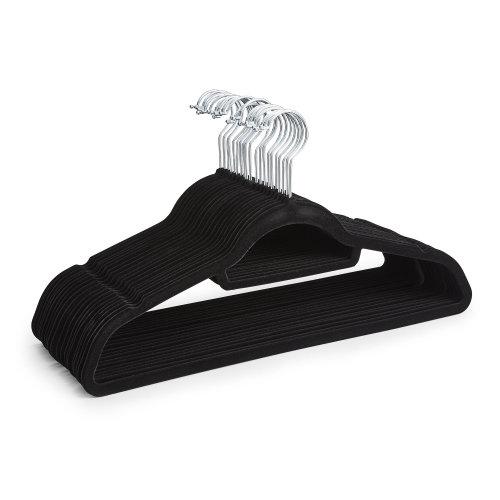 20 Black Non Slip Velvet Hangers With Tie Belt Scarf Holder