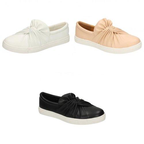 Spot On Womens/Ladies Twist PU Slip On Shoes
