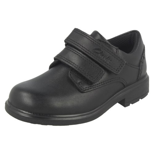 Boys Clarks Double Strap School Shoes Remi Pace - F Fit