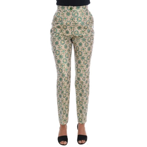 Dolce & Gabbana Green Beige Floral Brocade Pants