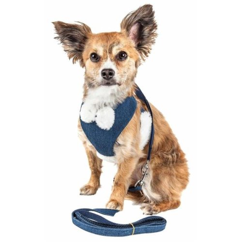 Pet Life HA26BLLG Luxe Pom Draper 2-in-1 Mesh Reversed Adjustable Dog Harness-Leash with Pom-Pom Bowtie, Navy Blue - Large