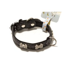 Rhinestone Decorated Bone Style Collar for Dogs BLACK (Fit 21~27 neck)
