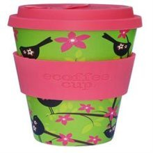 Ecoffee Cup Organic Bamboo Fibre Reusable Coffee Cup Widdlebird with Pink Sil (order 36 for Trade Outer)