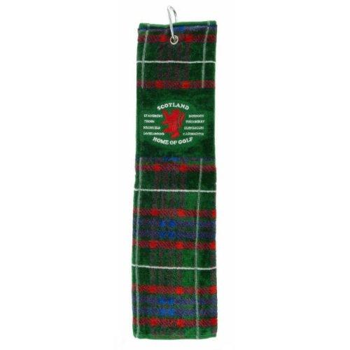 Scotland - Home of Golf - Golf Towel - Green Tartan