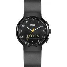 Braun Men's Quartz Watch with Analogue Digital Display and Black Rubber Strap