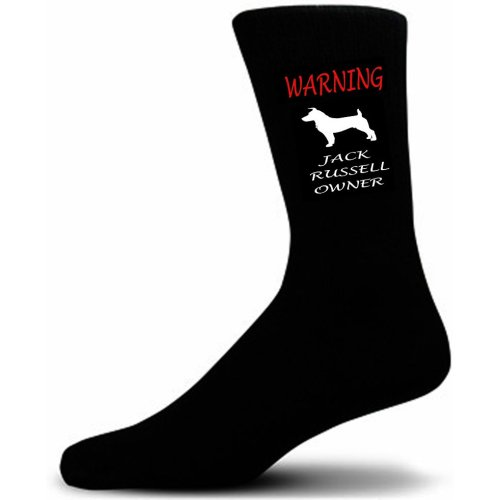 Black Warning  Jack Russel Owner Socks - I love my Dog Novelty Socks
