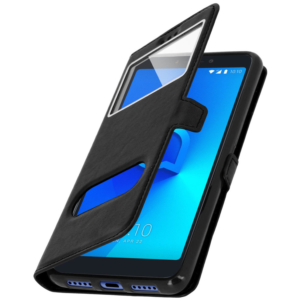 sale retailer dc8cc 51be5 Double window flip standing case for Alcatel 3V with TPU shell - Black